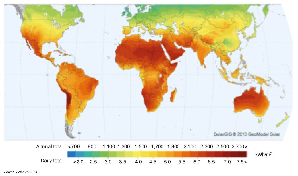 Fig. 12 – Average annual sunshine worldwide