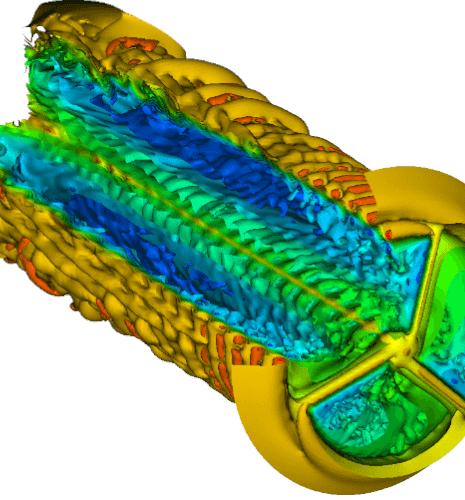 Simulation of the flows around wind turbines